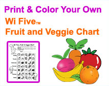 Print & Color your own Wifive Fruit and Veggie Chart